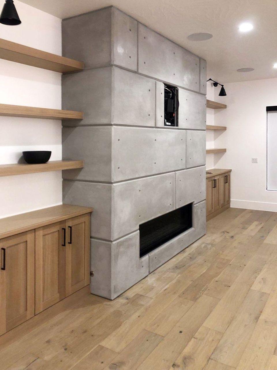 Contemporary Concrete Panel Fireplace Surround In 2020 Fireplace Building A House Fireplace Surrounds
