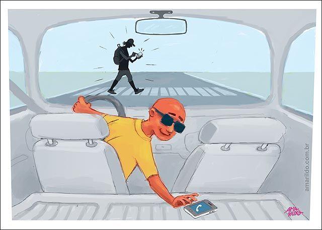 O trânsito e os dois celulares