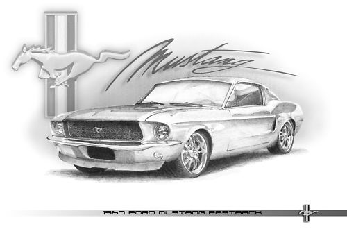1967 Ford Mustang Fastback pencil drawing | Mustang classic cars ...