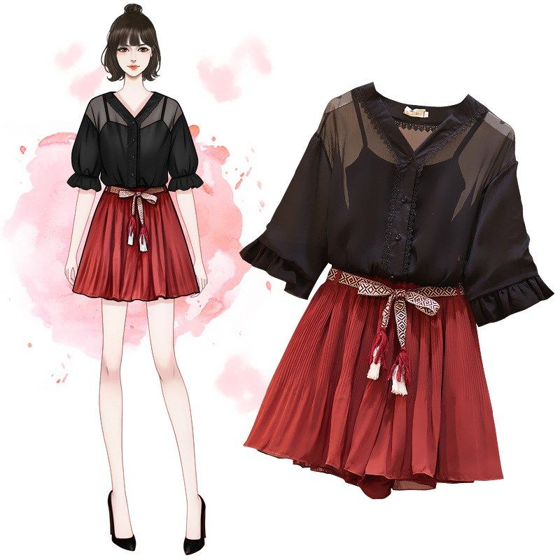 US $39.9 |2019 Summer Vest And Half Sleeve Tops And Chiffon Shorts Suits V Neck Sweet 3 Piece Sheer Black Plus Size Women Set|Women's Sets| - AliExpress