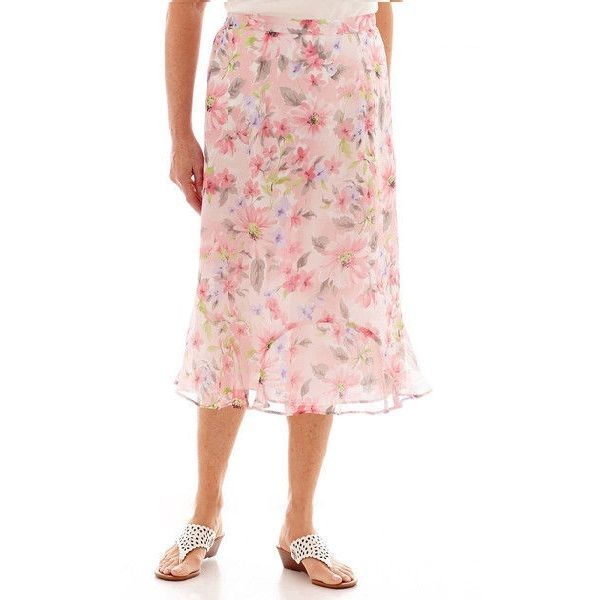Alfred Dunner women's skirt sweet melody flower polyester lined size 10 NEW #AlfredDunner #crinklecrepeskirt