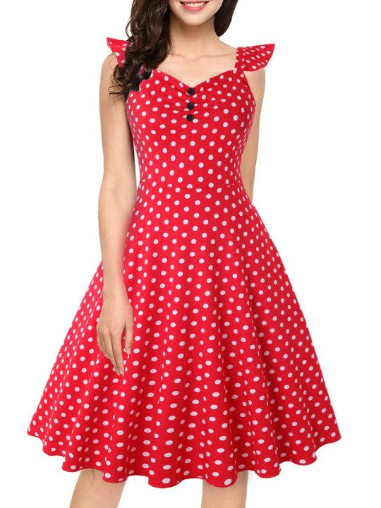 Sweet Heart Decorative Buttons Polka Dot Skater Dress Berrylook