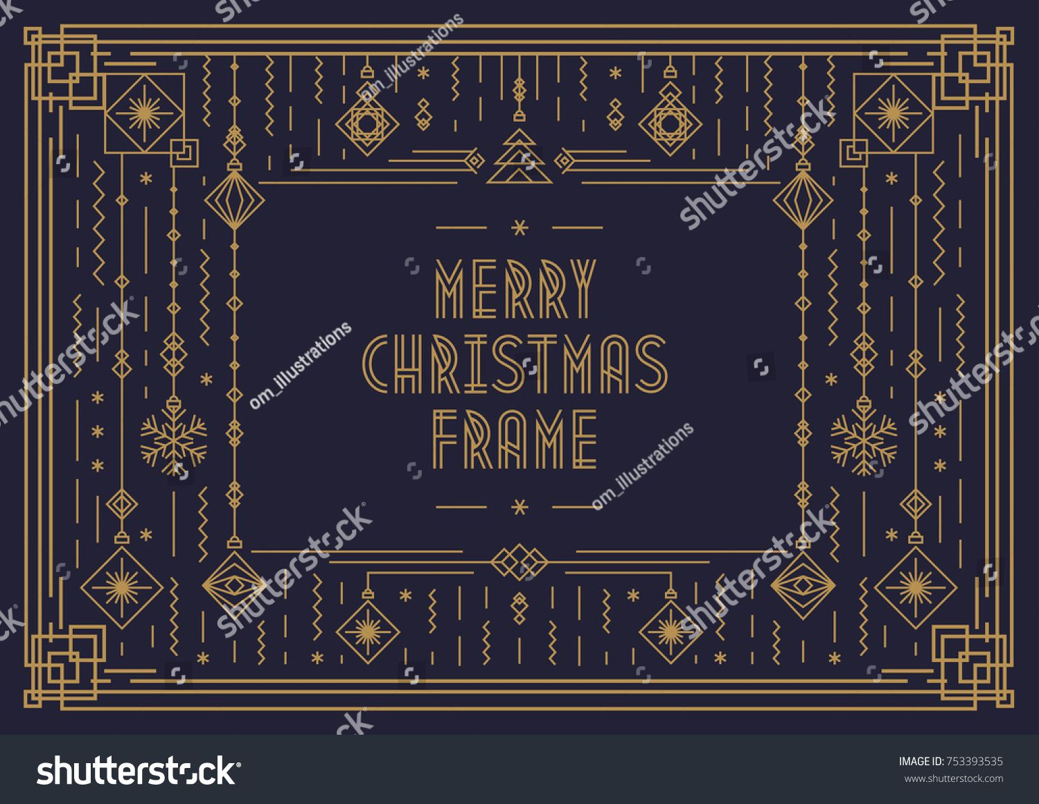 Merry Christmas Card Template With Frame And New Year Toy Art Deco Line Style Gold Color On Black Ba Merry Christmas Card Christmas Card Template Card Template