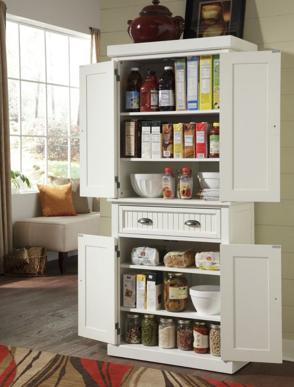 White Wood Free Standing Pantry Including Gl Jar E Storage