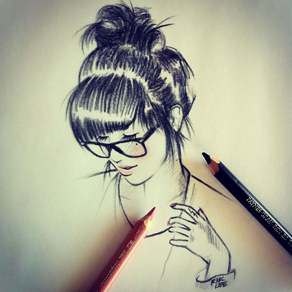 Girls with glasses drawing