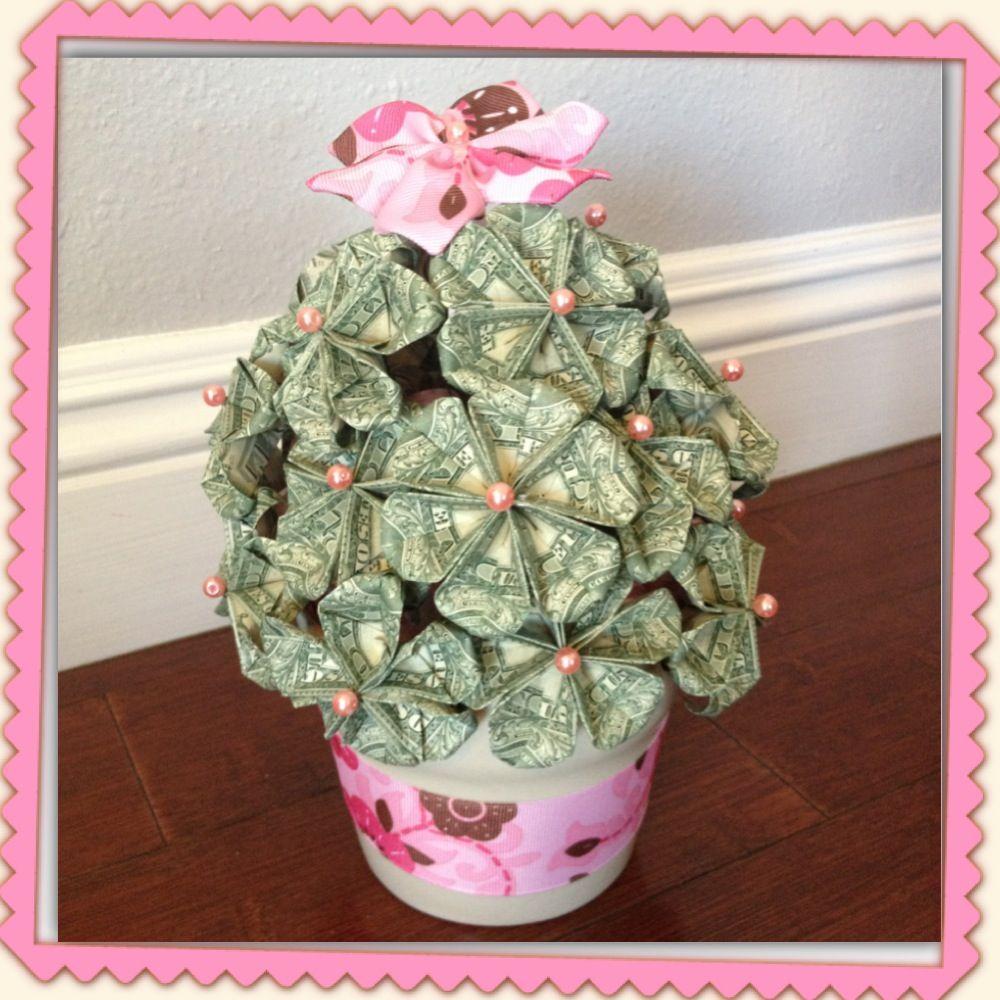 Money Flower Pot For Her 15th Bday 20 Flowers X $3 Each