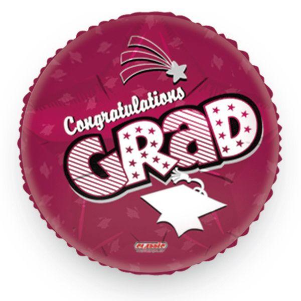 Congrats Grad Maroon Foil Balloon 18in