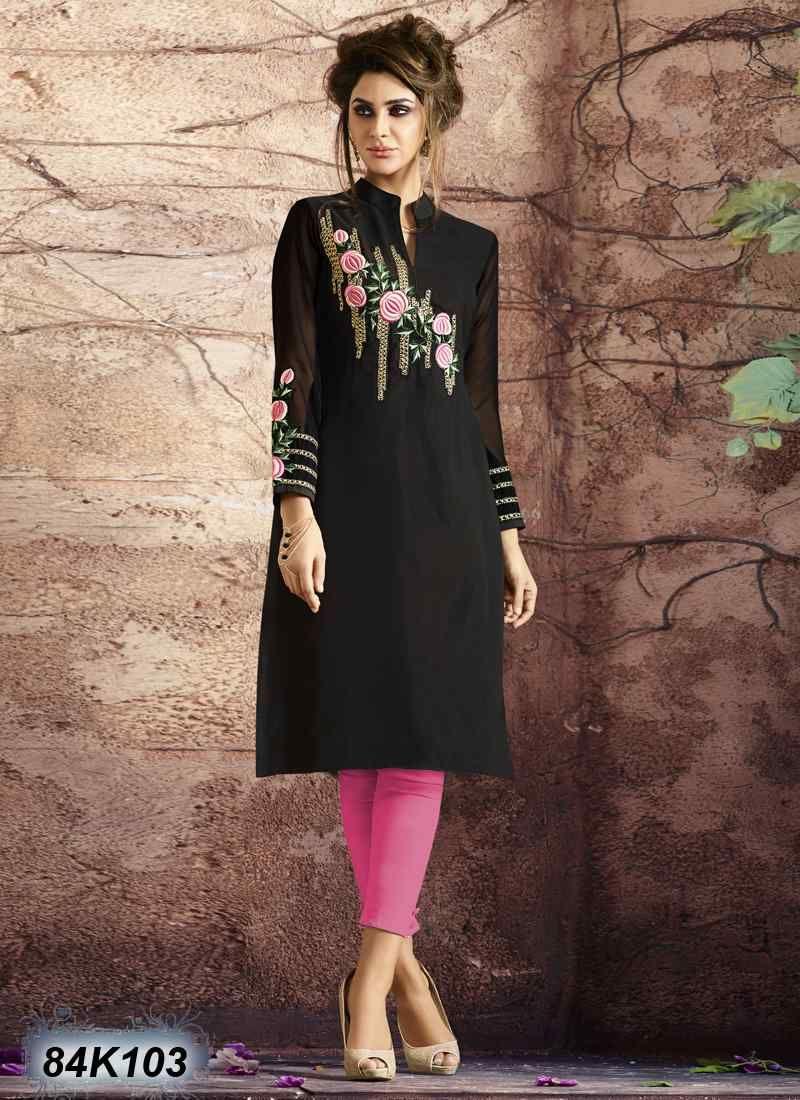 Outstanding Black Coloured Georgette Kurti Designer Party