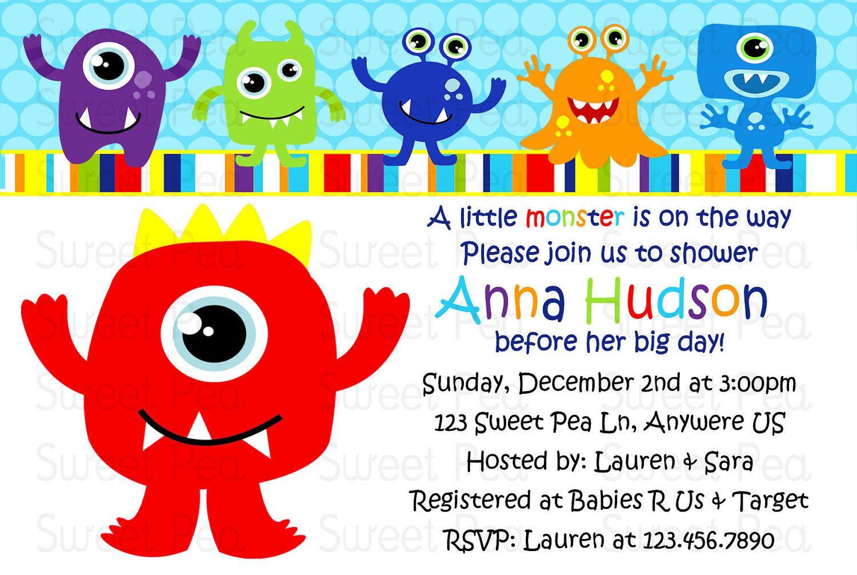 Little Monster Baby Shower Invitation | Baby shower | Pinterest ...