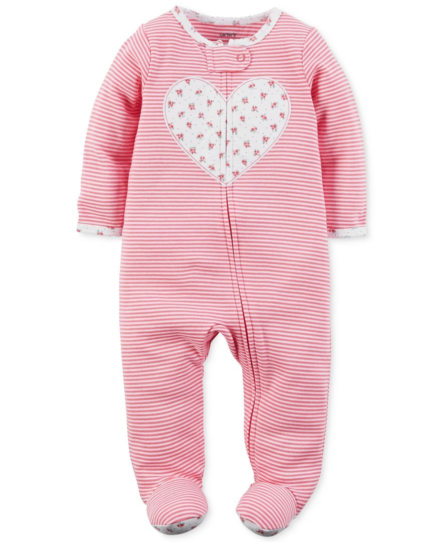 8998d0654616 Carter s 1-Pc. Stripes   Heart Footed Coverall