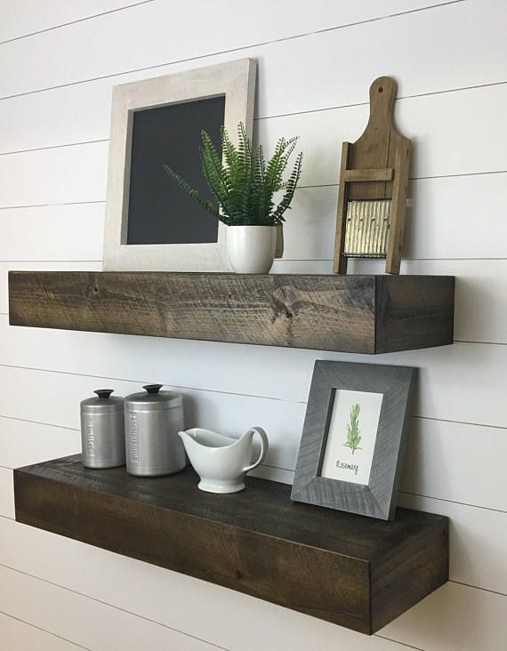 Set Of Two Modern Rustic Floating Deep Shelves Floating Shelves Floating Shelf Deep Floating Shelf Wood Shelf Kitchen Shelf Floating Shelves Modern Floating Shelves Rustic Floating Shelves