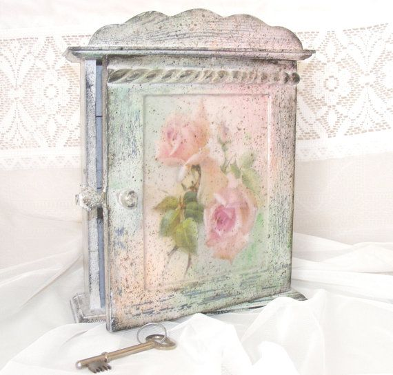 Decorative Key Box For The Wall Extraordinary Shabby Chic Key Cabinet Rustic Key Storageselenartedecoupage Decorating Inspiration