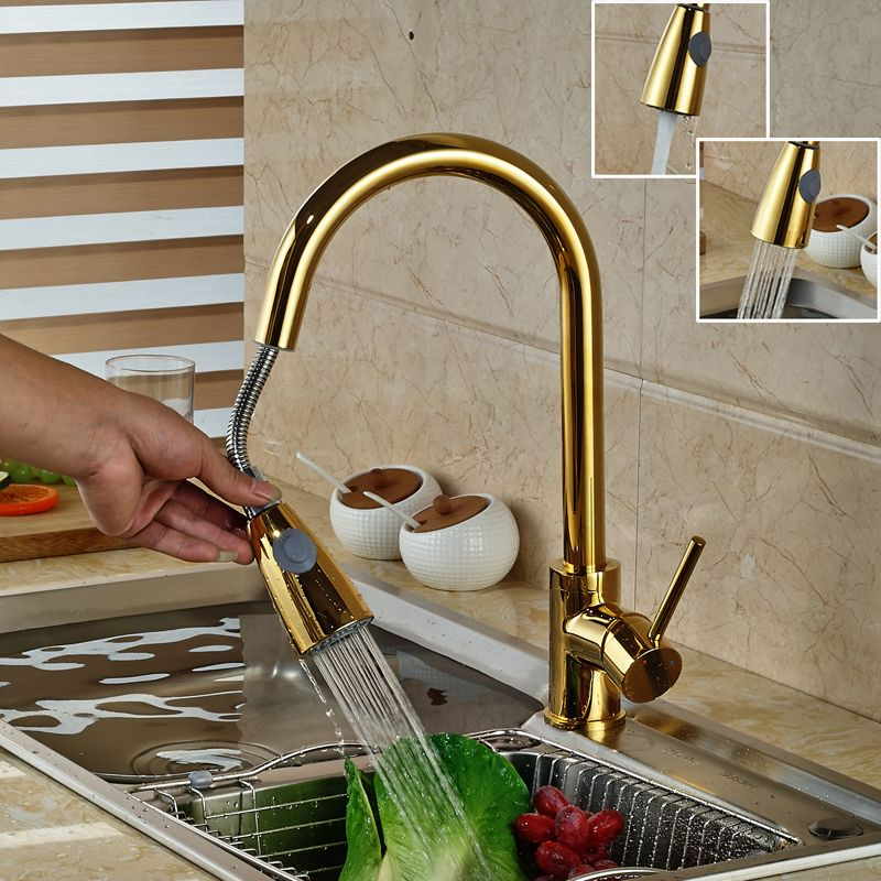 Luxury Golden Handheld Pull Out Kitchen Faucet Deck Mounted 360 ...