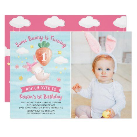 Cute Pink Some Bunny with Carrot Birthday Photo Invitation #UniqueGifts #BirthdayGiftsUnique #PersonalizeGifts #ShopCustomizables