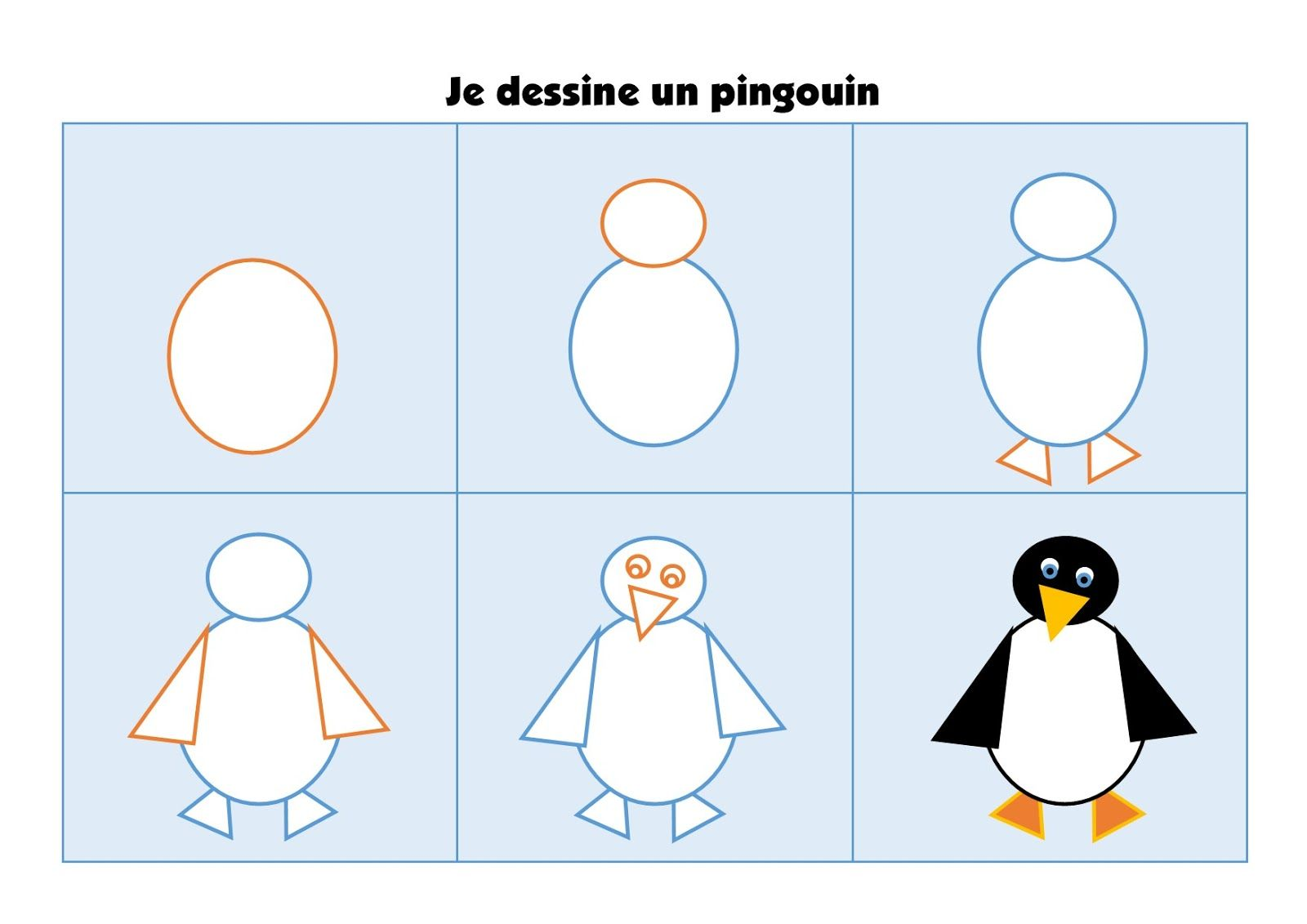 Projet sur la banquise cahier des mots dessin dirig - Pingouin a dessiner ...