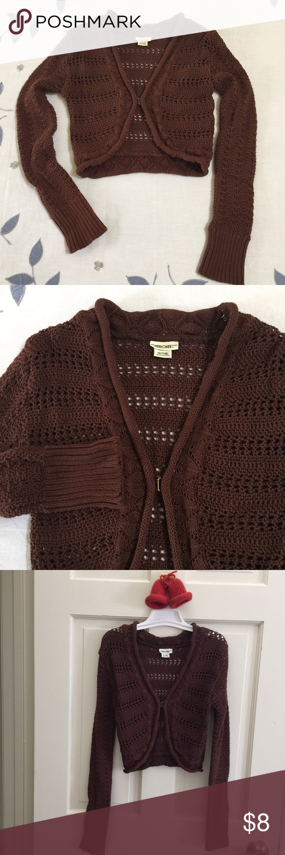 Adorable knit sweater shrug Get this cute brown knit sweater for ...