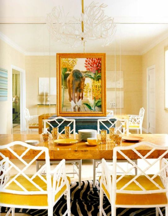 White Chinese Chippendale chairs with yellow seats, burl wood dining ...