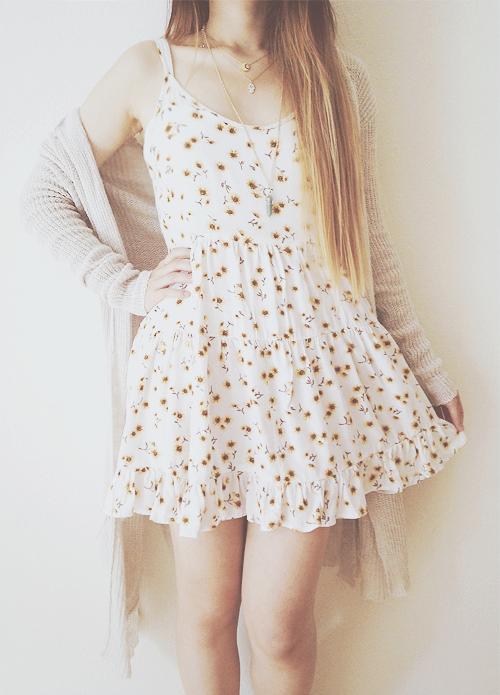 white spaghetti strap sunflower dress