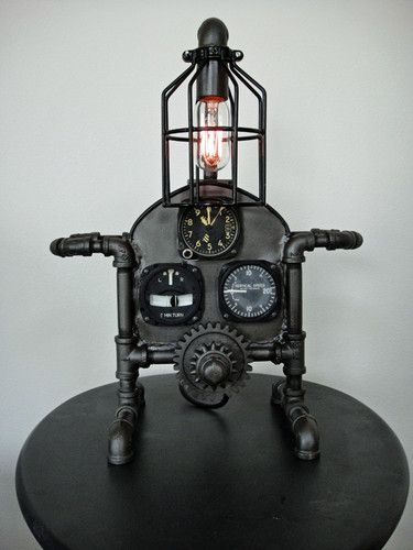 Steampunk Gear Machine Age Aviation Table Lamp Industrial Art Light Steampunk Lamp Steampunk