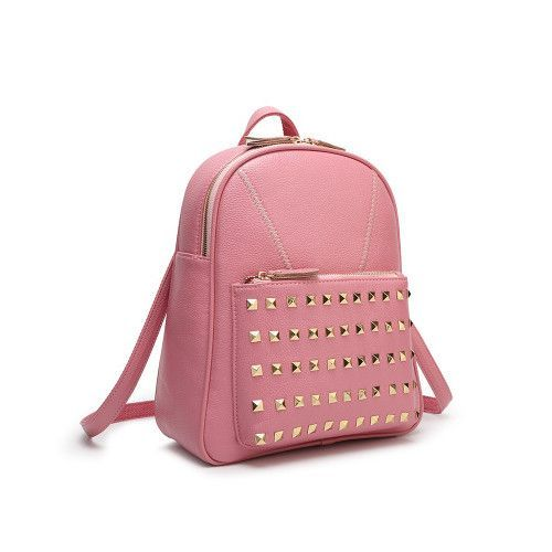 Ladies Elegant Solid-Colored Rivet Accent Quality PU Leather Backpack 5 Colors
