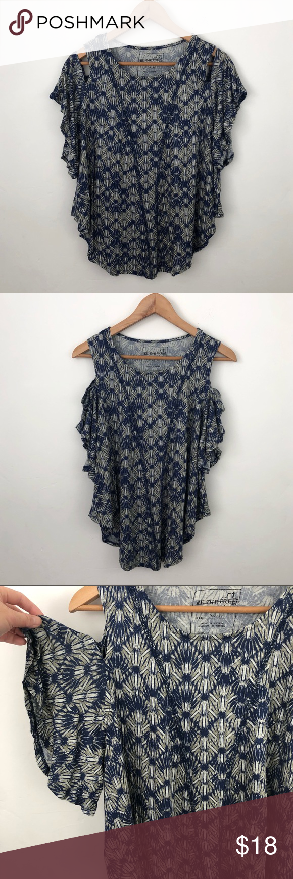 64d01dce96c99a Free People Printed Cold Shoulder Top Free People We the Free Printed Blue Cold  Shoulder Top Size XS Approximate measurements (laying flat): - Pit to pit:  ...