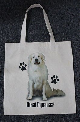 Med. Sized Great Pyrenees Dog Canvas Tote Bag Shopping Bag Grocery Bag Reusable