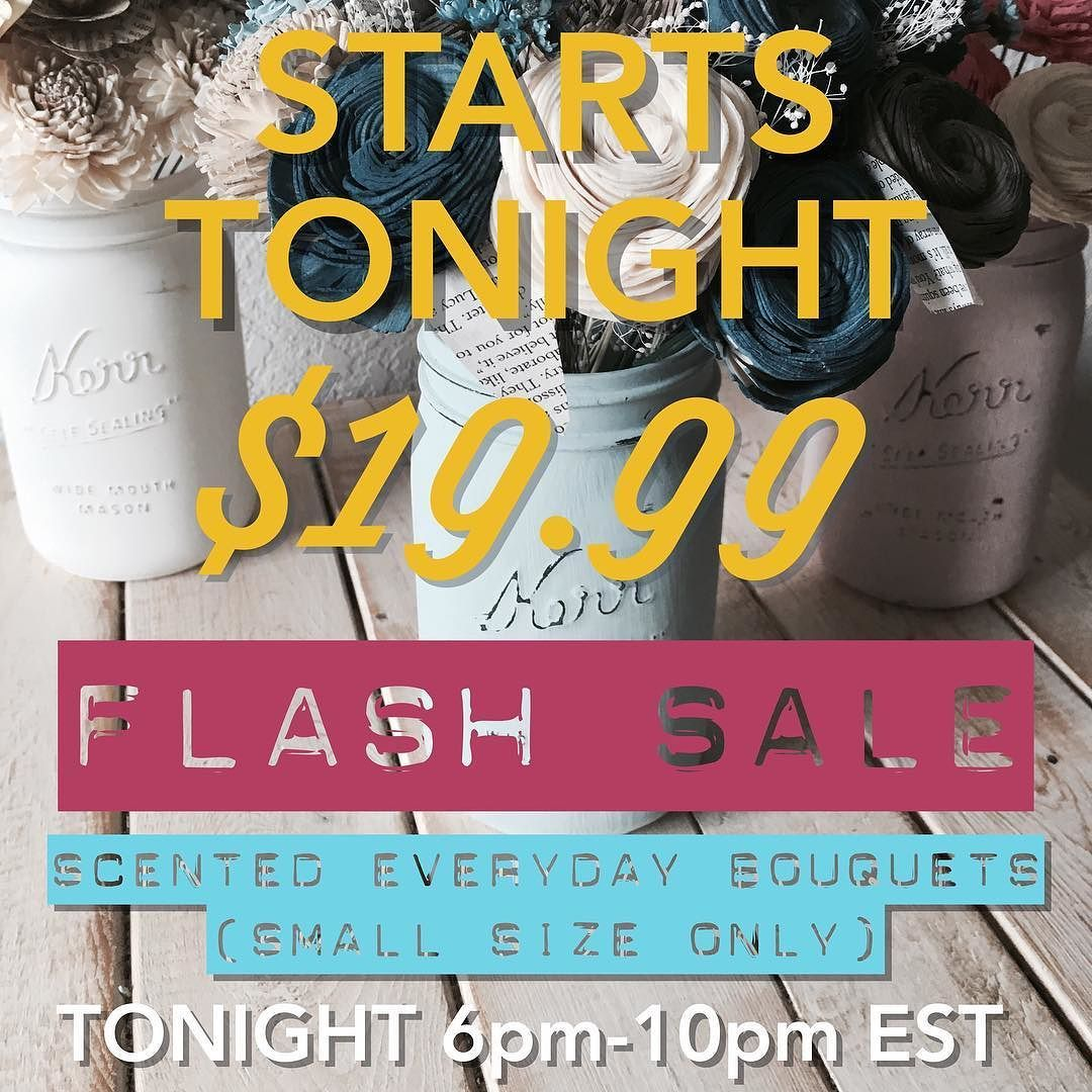 FLASH SALE TONIGHT! We are ending our FALL SALE with a super stunning and spectacular deal! All of our small scented everyday bouquets will be $19.99  taxes and shipping for a few hours only TONIGHT! Mark your calendars from 6-10PM EST and tag your friends so they don't miss out!  Shop: NovelExpression.etsy.com  #etsy #etsyseller #etsyshop #etsyfinds #etsystore #giftsforher #gifts #giftgiving #wedding #weddingdecorideas #sale #flashsale #celebrate #deal #handmade #handmadeisbetter #craft…