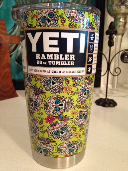 Hydro Dipped Yellow Sugar Skull Yeti Cup Bayou City Graphics - Sugar skull yeti cup