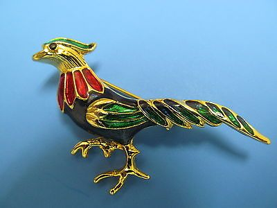 Vintage 1990's Red, Blue, & Green Enamel Pheasant Bird Brooch.