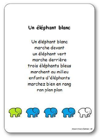 Comptine Un éléphant Blanc Paroles Illustrées à Imprimer