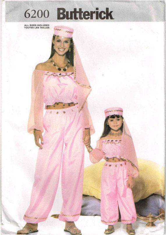 Genie Harem Belly Dancer Halloween Costume Sewing Pattern Butterick ...