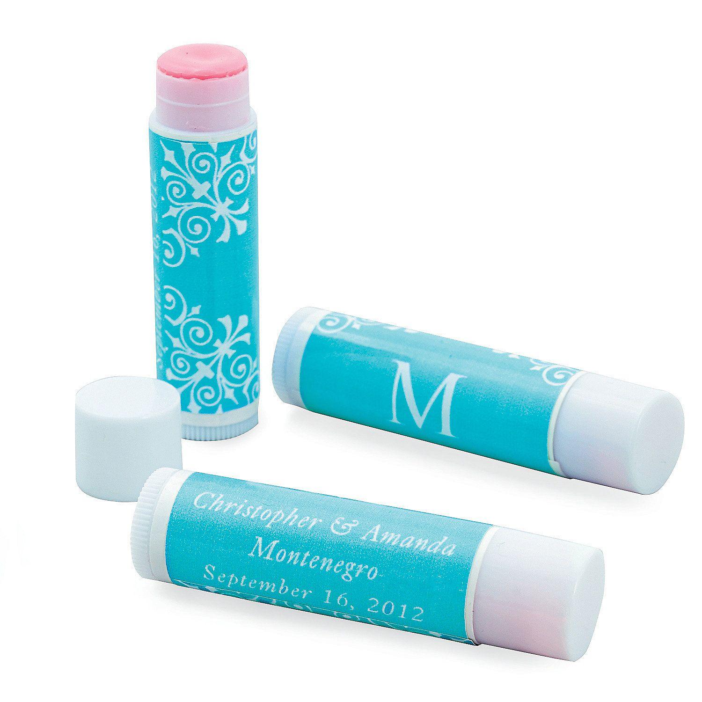Wedding Monogram Turquoise Lip Balm - OrientalTrading.com | favors ...