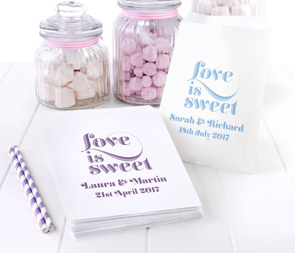 Personalised Sweet bags - wedding engagement favour candy cart sweet ...