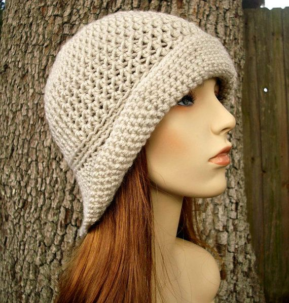 Crochet Hat Womens Hat - Crocheted Sun Hat in Cream Linen Crochet ...
