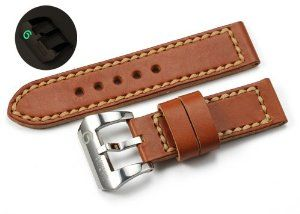 Handcraft & Limited Edition!! 24mm Vintage Genuine Leather Watch Band Strap & 24mm S/S M.M Super Luminova Buckle for Panerai Luminor