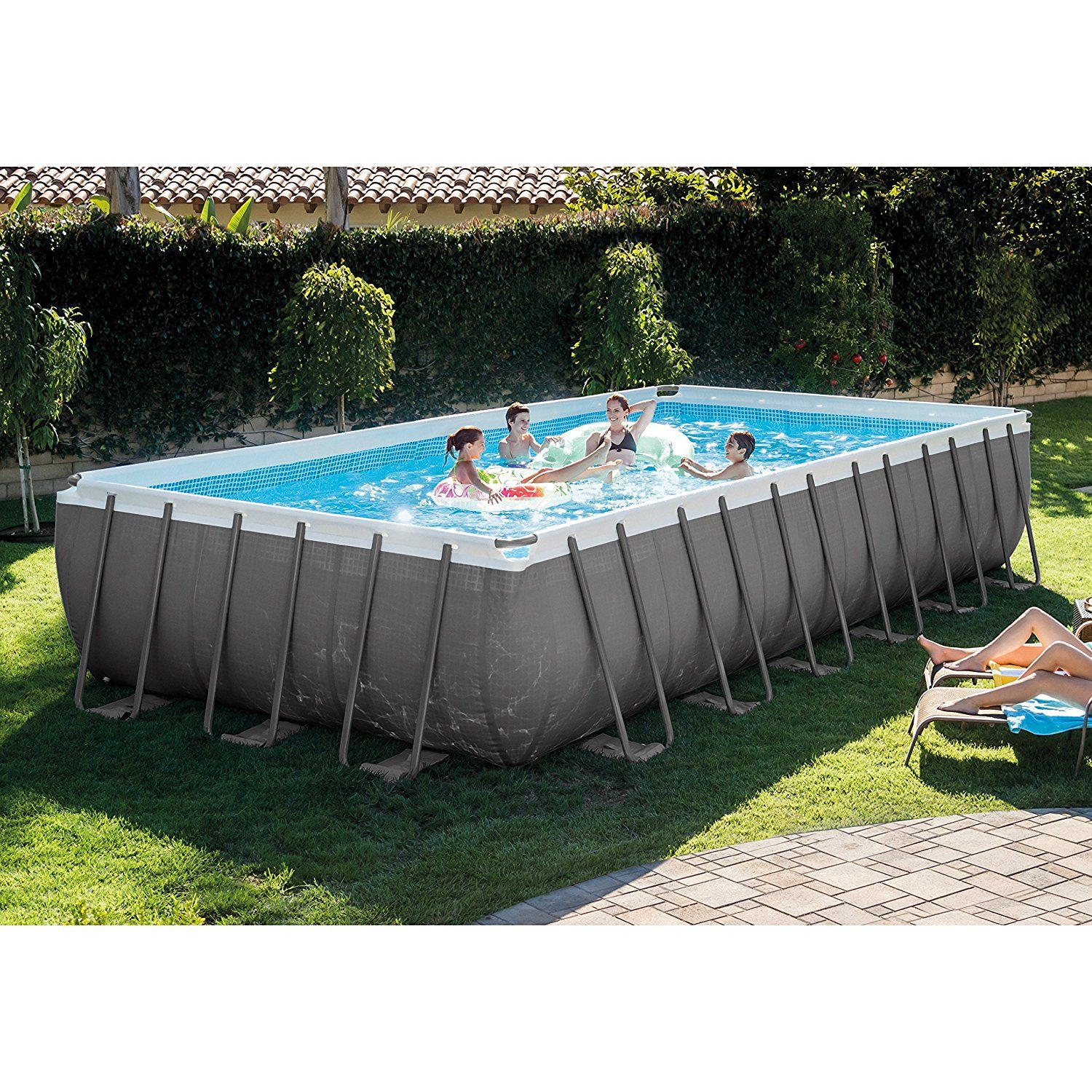 Intex 24ft X 12ft X 52in Ultra Frame Rectangular Pool Set With Sand Filter Pump Amp Saltwater Sys Rectangular Pool Rectangle Pool Above Ground Swimming Pools