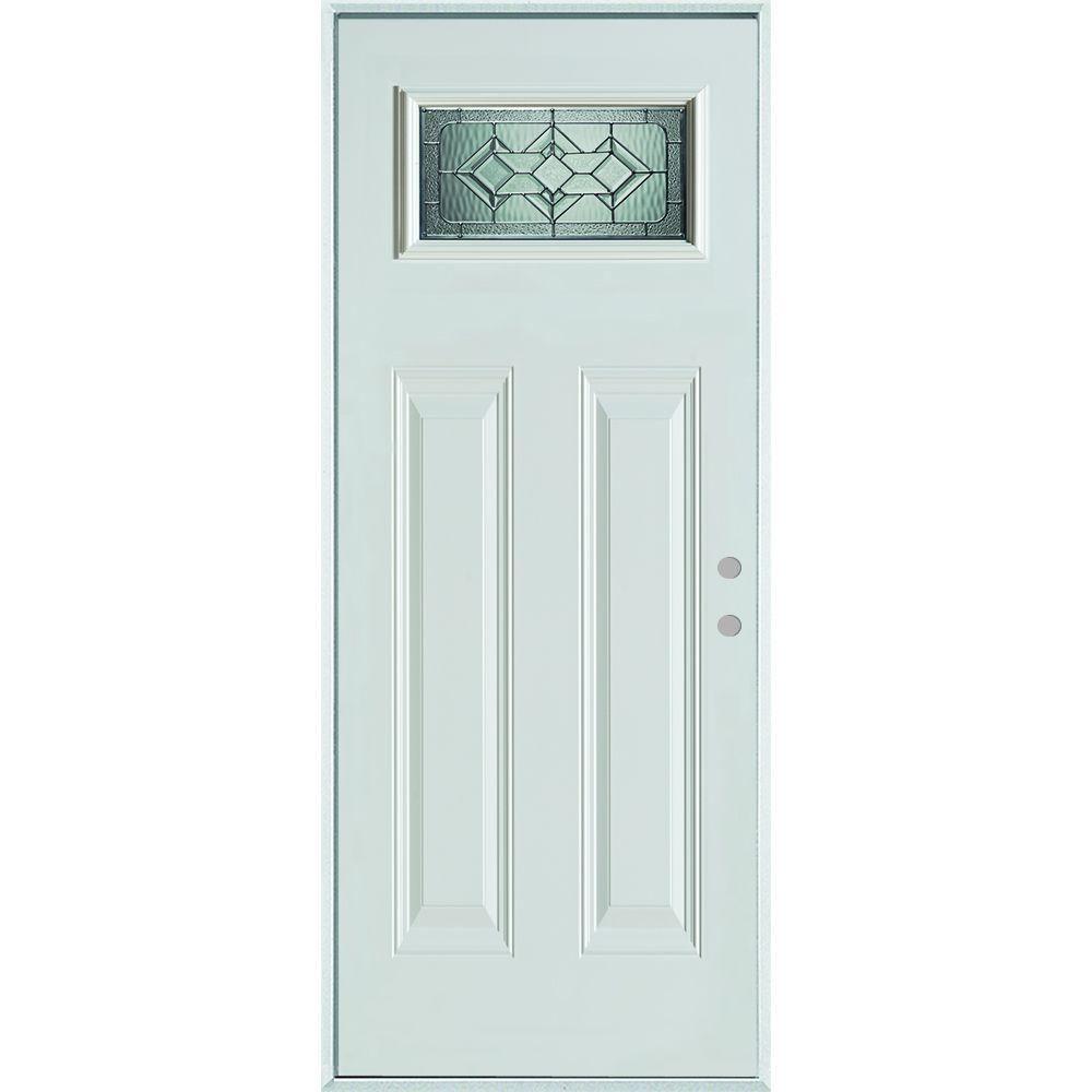 Stanley Doors 32 In X 80 In Neo Deco Zinc Rectangular Lite 2 Panel Prefinished White Left Hand Inswing Steel Stanley Doors Steel Entry Doors Painted Paneling