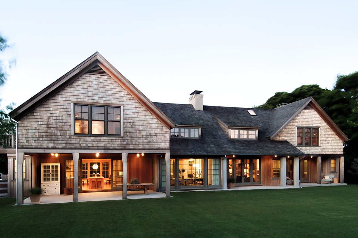 wainscott main house - modern shingle style architecture | hlbh
