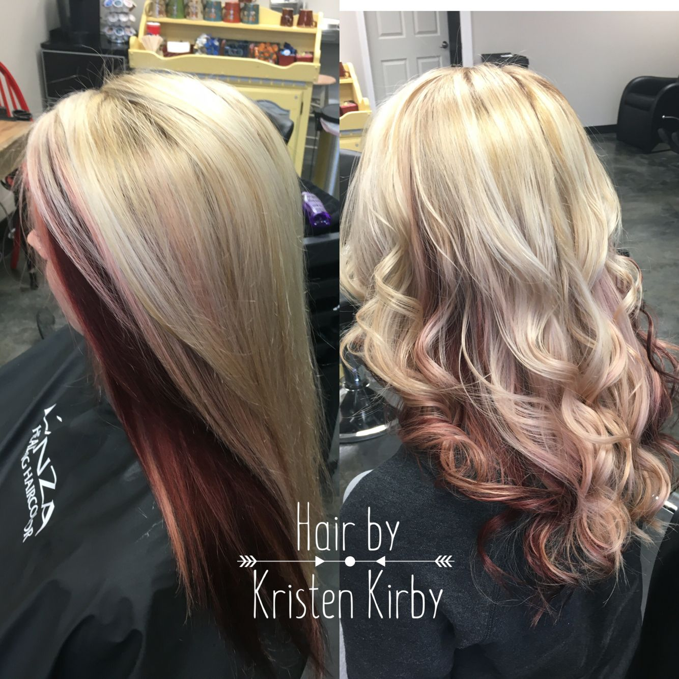 Lanza Haircolor Blonde With Peekaboo Red Hair Color Underneath