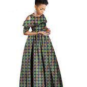 Afrikanisches Kleid für Frauen Ankara Kleidung Rüschen Kragen Batik Wachs 1/2 X11358 #afrikanischeskleid Afrikanisches Kleid für Frauen Ankara Kleidung Rüschen Kragen Batik Wachs 1/2 X11358 #afrikanischeskleid