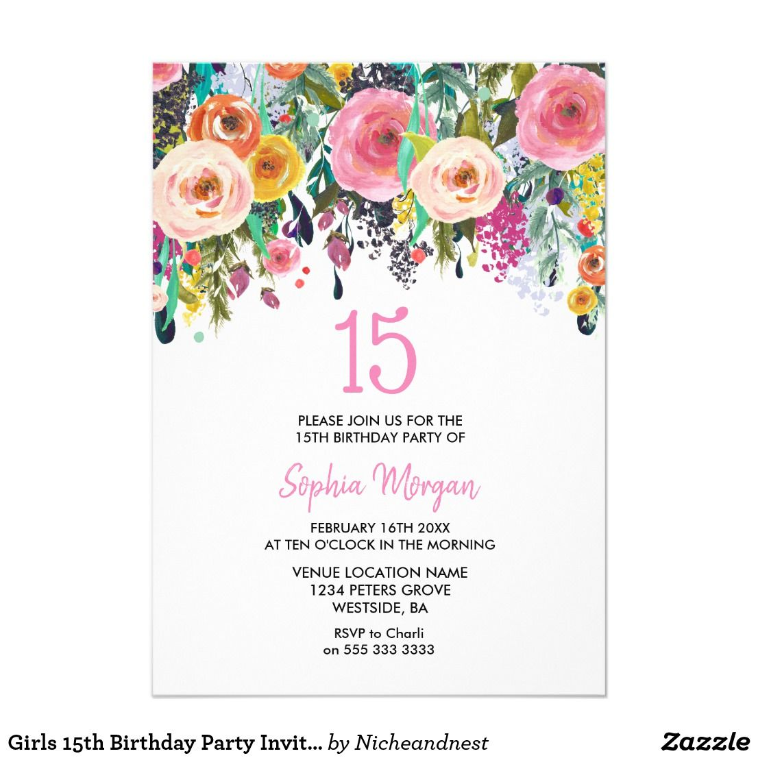 Girls 15th Birthday Party Invite Pink Flowers | Sweet 15 birthday ...