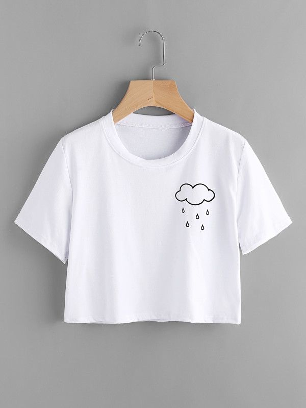 T-Shirt mit Wolken Muster- German SheIn(Sheinside)  a00e124d940