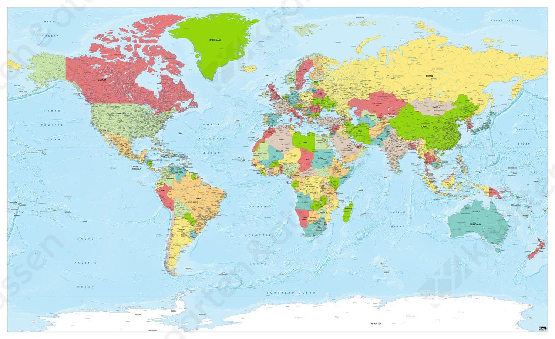 Wereldkaart Xxl Staatkundig Heldere Kleuren 1270 Met Afbeeldingen