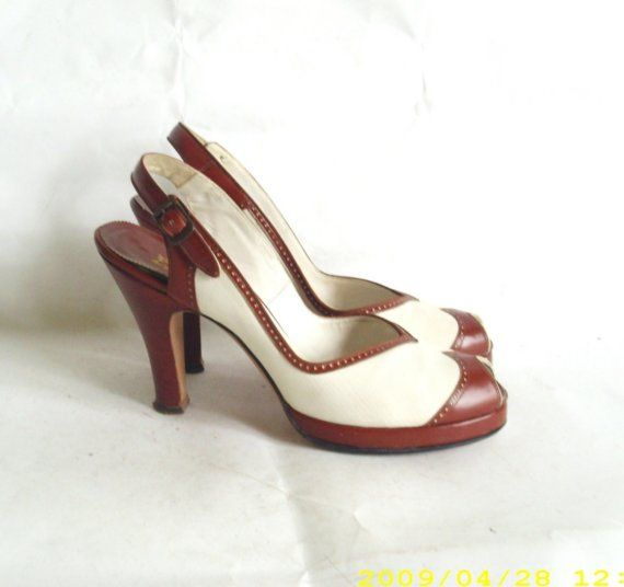 80fe2ac1271c8 Vintage Brown and White 1940's Martinique Slingbacks with Peep Toe ...