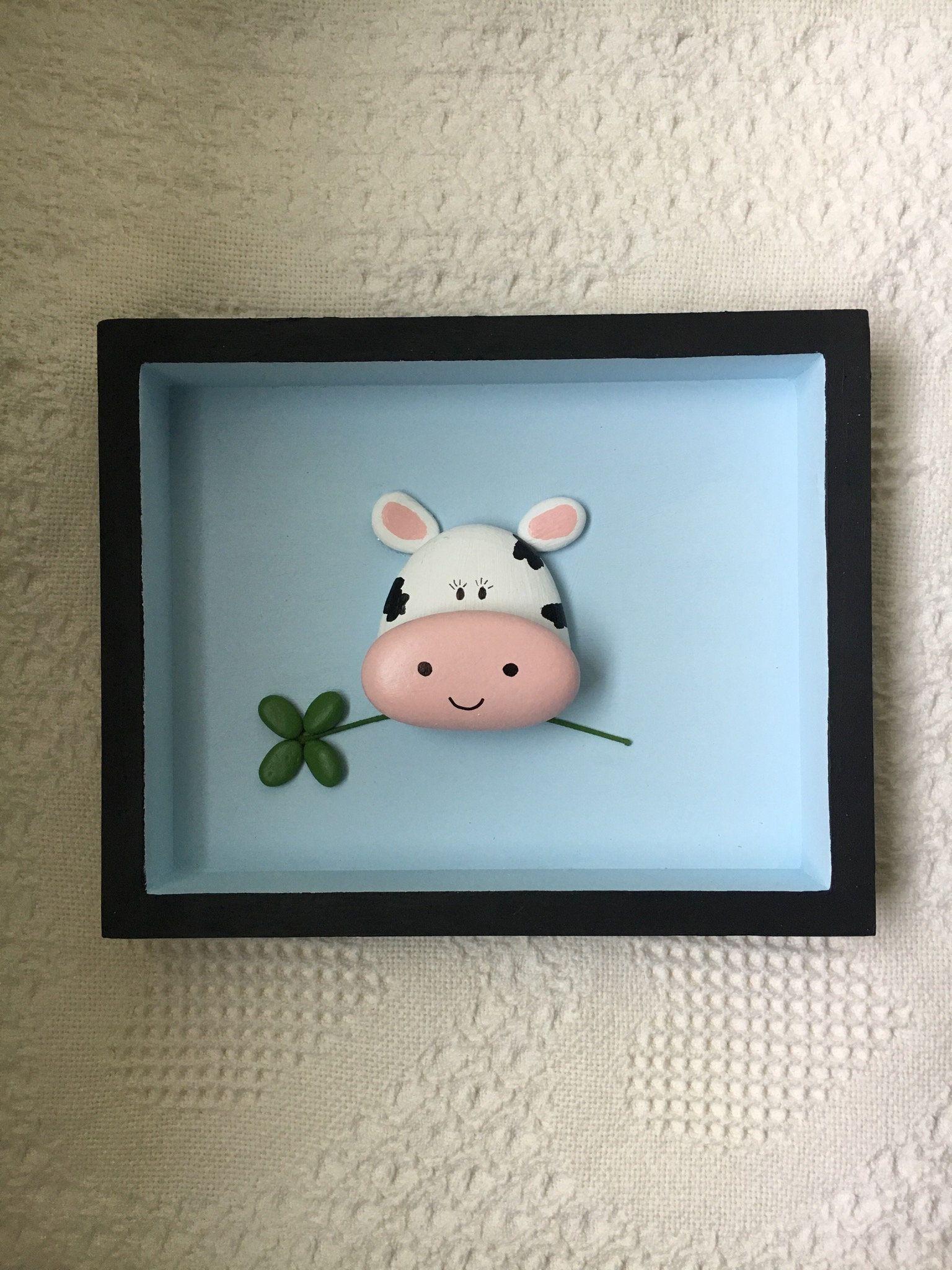 Cow Decor Cow Wall Art Painted Pebble Art Framed Nursery Etsy Cow Decor Cow Wall Art Pebble Art