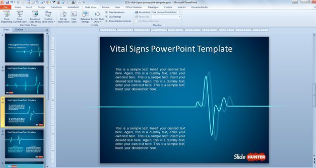 Animated PowerPoint Template with Vital Signs Background Places - sample medical powerpoint template