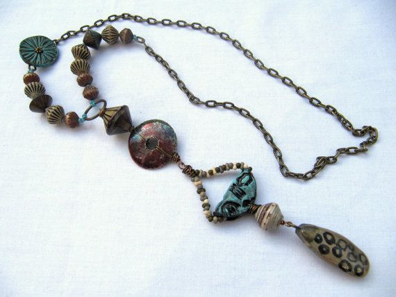 Fluting - handmade necklace, tribal necklace, neutral necklace, art bead necklace