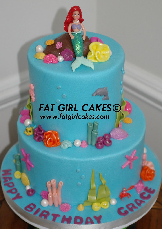 Mermaid party cake decorations set, edible fondant under ...