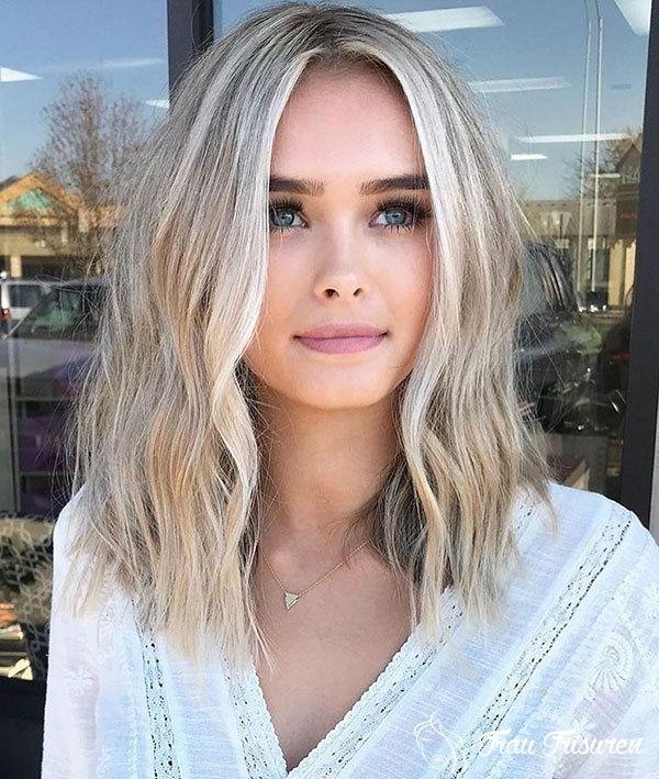 Schulterlang blonde haare Haare Frisur