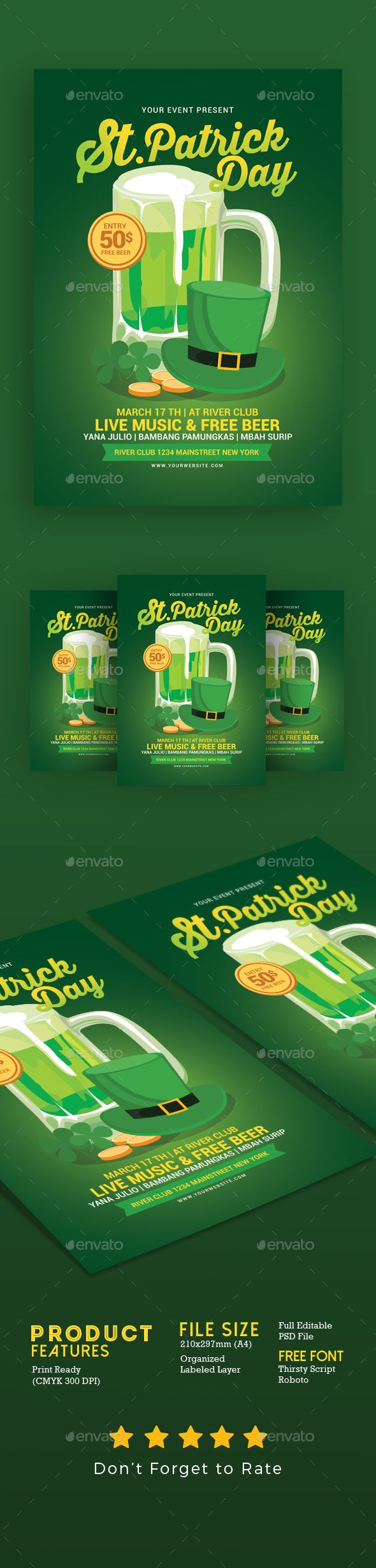 Saint Patricks Day Flyer  Event Flyers Flyer Template And Font Logo